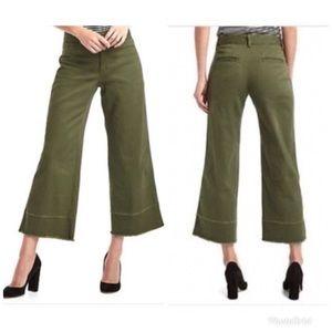 GAP Wide Leg High Rise Crop Pant Army Camo Green